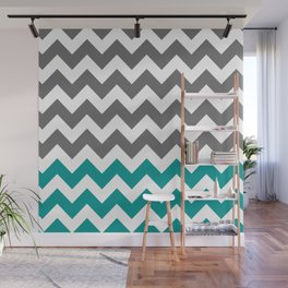 Gray and Teal Zigzags Wall Mural