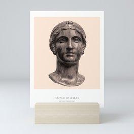 Sappho Art Print, Portrait of Sappho, Greek Literature, Sappho Photograph, Sappho Bust Print, Modern Home Decor, Peach and White, Sappho of Lesbos Mini Art Print