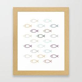 Ichthus with Cross Christian Fish Symbol Framed Art Print