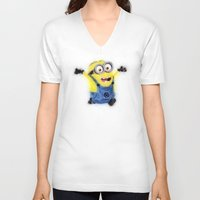 minion V-neck T-shirts featuring Minion by KitschyPopShop