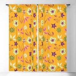 Cheerful Flowers On Orange Blackout Curtain