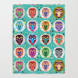 funny colored owls on a turquoise background Poster