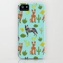 Australian Cattle Dog cactus pet friendly dog breed dog pattern art iPhone Case