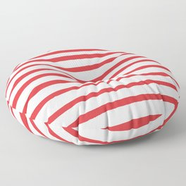 Red hand drawn stripes Floor Pillow