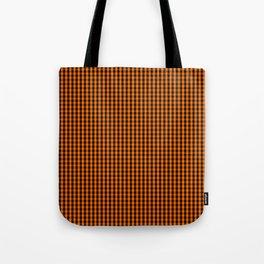 Dark Pumpkin Orange and Black Gingham Check Pattern Tote Bag