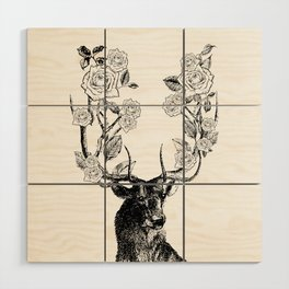 The Stag and Roses | Black and White Wood Wall Art