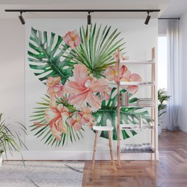 Tropical Jungle Hibiscus Flowers - Floral Wall Mural
