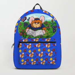 Hammy reading in a Meadow (darkBlue) Backpack