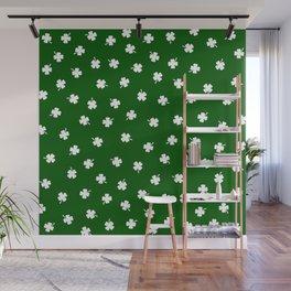 White Shamrocks Green Background Wall Mural