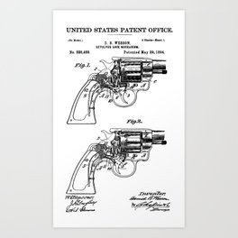 Smith And Wesson Revolver Patent 1894 Art Print