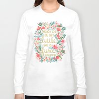text Long Sleeve T-shirts featuring Little & Fierce on Charcoal by Cat Coquillette