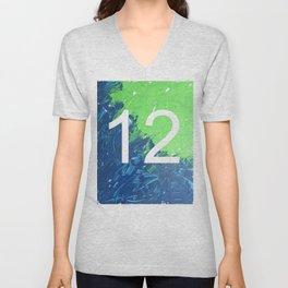 Blue & Green, 12, No. 4 Unisex V-Neck
