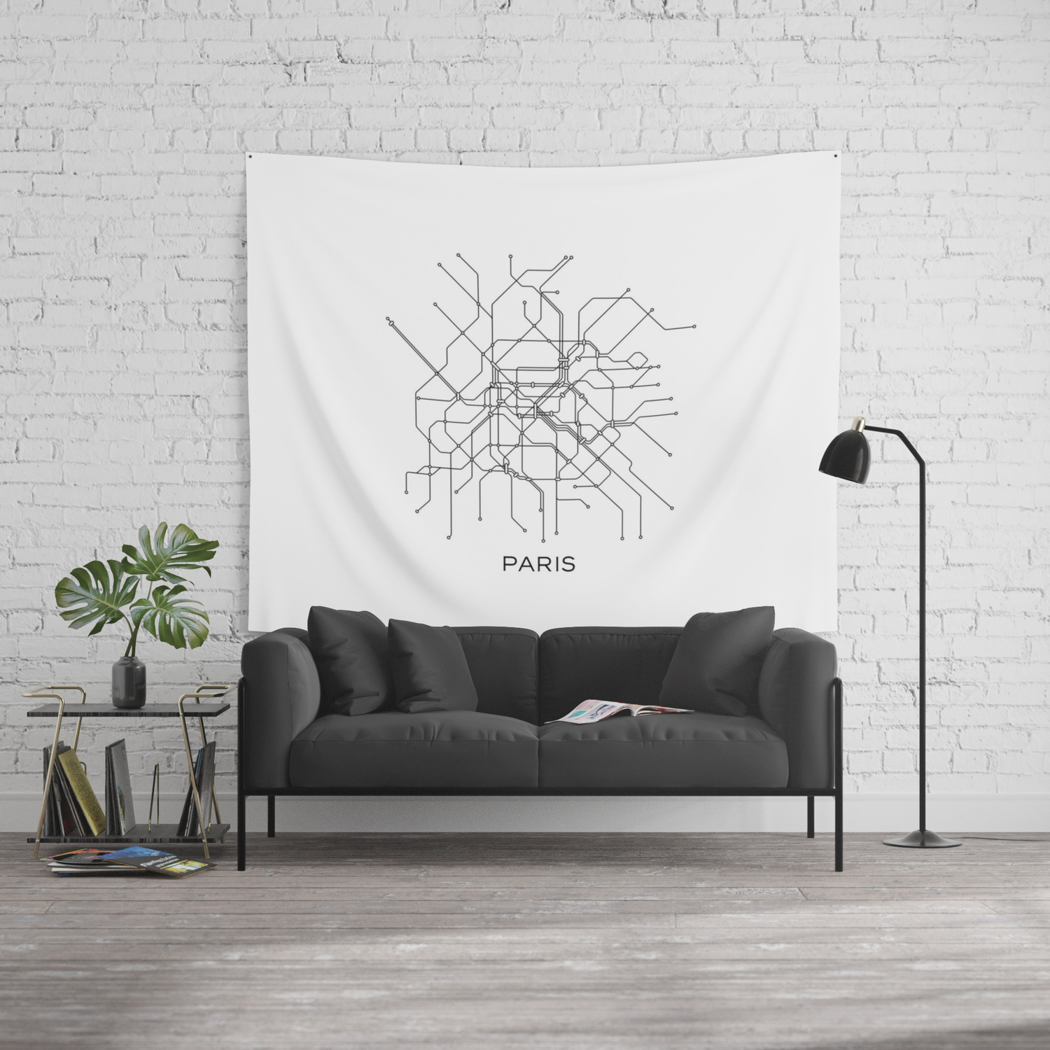 Black And White Subway Map Tapestry.Paris Metro Map Subway Map Paris Metro Graphic Design Black And White Canvas Metropolian Art Wall Tapestry