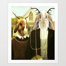 Gothic Jackalopes Art Print
