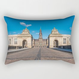 Entrance of Christiansborg Palace under a blue sky on a sunny day Rectangular Pillow