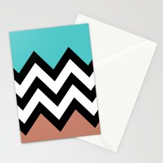 AQUA & DARK CORAL CHEVRON COLORBLOCK Stationery Cards