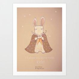 Christmas creatures- Bunny The Magician Art Print