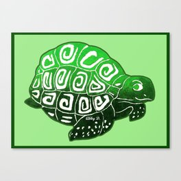Green Turtle Art Canvas Print