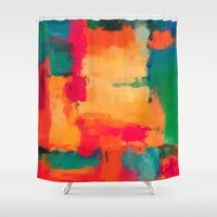 selena gomez Shower Curtains featuring Casa Blanca-Abstract  by Xchange Art Studio