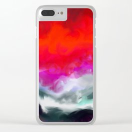 Abstract in Red, White and Purple Clear iPhone Case