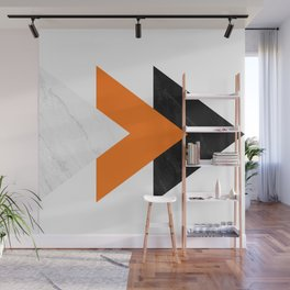 Forward arrows marble orange Wall Mural