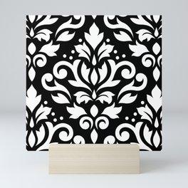 Scroll Damask Large Pattern White on Black Mini Art Print