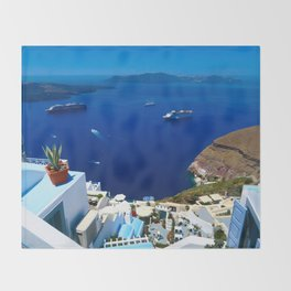 Santorini Caldera Throw Blanket
