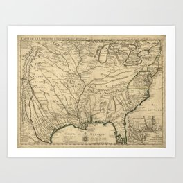 Map of America from Rio Grande River to Hudson River (1718) Art Print