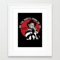 freddy krueger Framed Art Prints featuring Freddy K quote v2 by Buby87