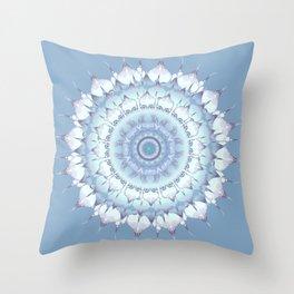 Delicate Mandala pastel ice blue Throw Pillow