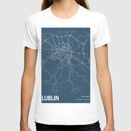 Lublin Blueprint Street Map, Lublin Colour Map Prints T-shirt