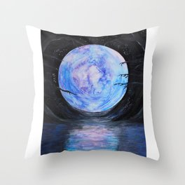 Full Moon Reflections Throw Pillow