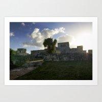 Sunrise Over Mayan Ruins Art Print