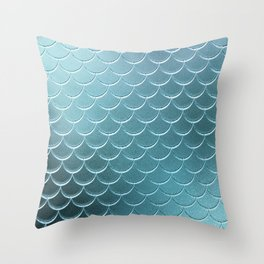 Minimalist Fish Scale Pattern in Iridescent Blue-Green 14 Throw Pillow