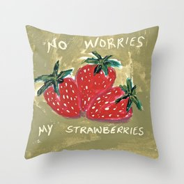 My Strawberries Throw Pillow