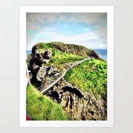 rope bridge Northern Ireland coast Art Print