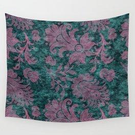 Burgundy Turquoise Velvet Floral Pattern 06 Wall Tapestry