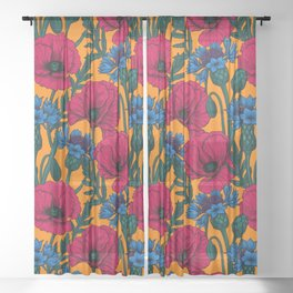Red poppies and blue cornflowers Sheer Curtain