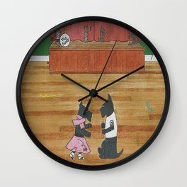 At the Hop-Scotch - Scotties - Scottish Terriers Wall Clock