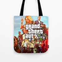 grand theft auto Tote Bags featuring Grand theft auto 5 by customgift