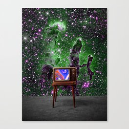 Tuned In - Vintage TV Set in Space Collage Canvas Print