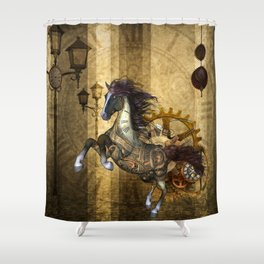 Awesome steampunk horse Shower Curtain