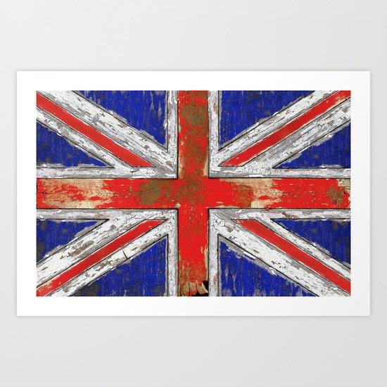UK Vintage Wood Art Print