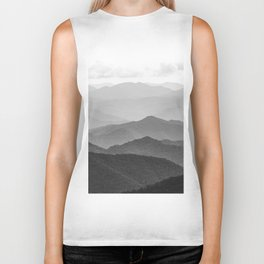 Forest Fade - Black and White Landscape Nature Photography Biker Tank