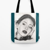 jennifer lawrence Tote Bags featuring jennifer lawrence by als3