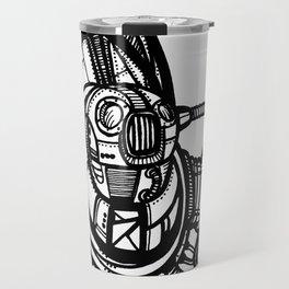 Robot 1 b/w. Drawing Travel Mug