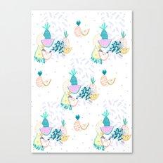 Fruiti tutti. Fruit, illustration, pattern, print, pineapple,  Canvas Print
