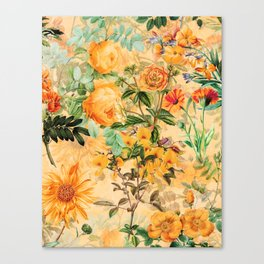 Vintage & Shabby Chic -  Sunny Gold Botanical Flowers Summer Day Canvas Print