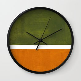 Olive Green Yellow Ochre Minimalist Abstract Colorful Midcentury Pop Art Rothko Color Field Wall Clock
