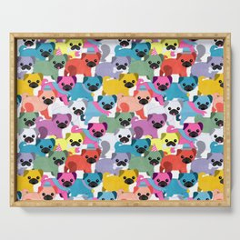 Colored Pugs Pattern - no1 Serving Tray